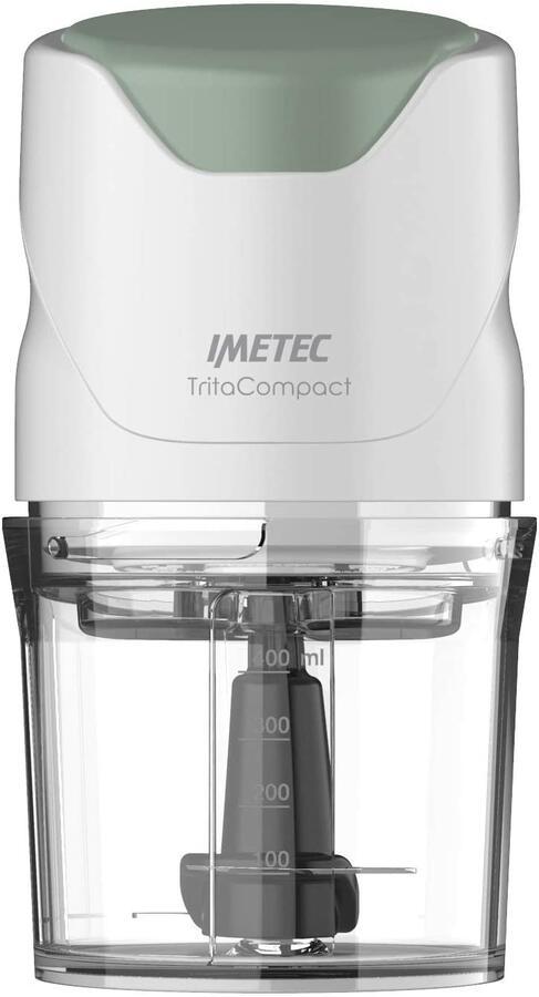 IMETEC 7473 TritaCompact Tritatutto, Lame in Acciaio Inox, Capienza Contenitore 400 ml, Funzionamento a Pressione, Compatto, 350 W, Bianco/Verde