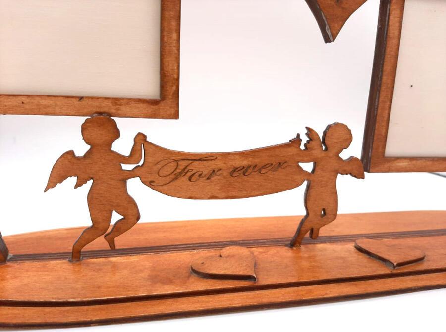 Portafoto San Valentino tema Cupido con base in legno compensato 3mm multistrato colore a scelta