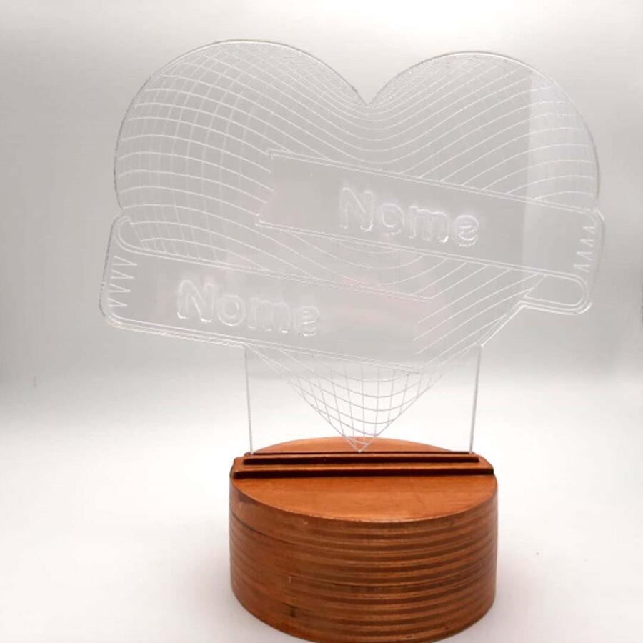 Lampada legno plex effetto 3D cuore con nomi compresa di base illuminante multicolor con telecomando