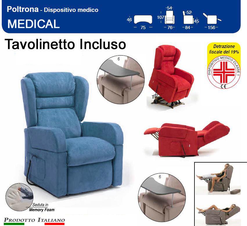 Poltrona Relax Medical Braccioli Estraibili Alzata Verticale cm 10 Alzapersona Kit Roller e tavolinetto estraibile in Tessuto Idrorepellente Azzurro Avio