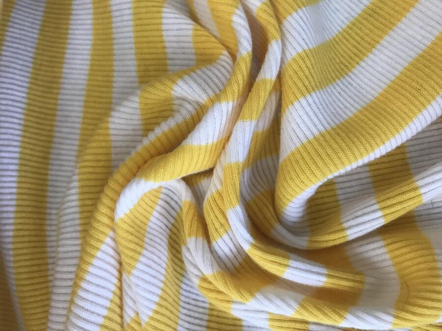 Maglina Jersey a coste righe giallo e bianco