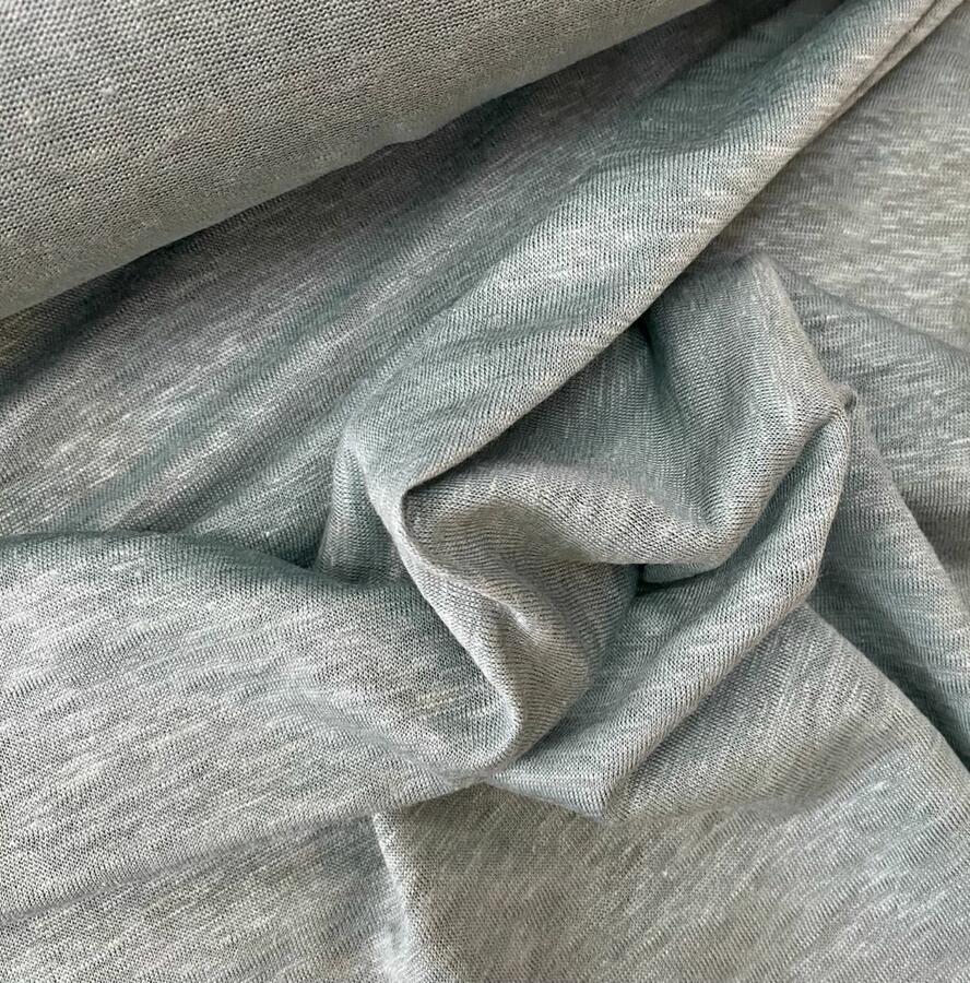 Maglina Jersey cotone e lino acqua marina