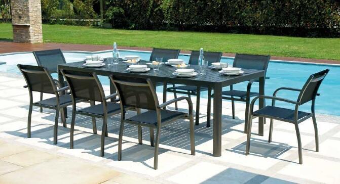 Tavolo da giardino allungabile in alluminio ANTRACITE PORTOFERRAIO da 160 a 240 x 100 gambe scorrevoli RTA 56 GR