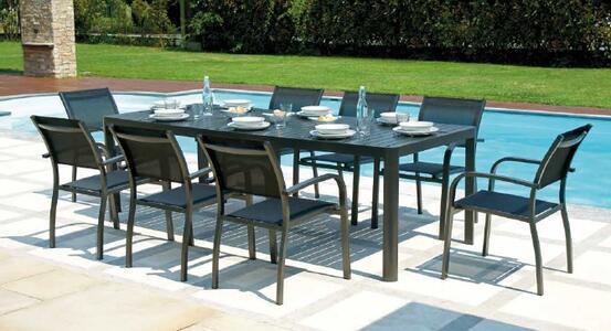Tavolo da giardino allungabile in alluminio ANTRACITE CAPOLIVERI da 200 a 300 x 100 gambe scorrevoli RTA 57 GR