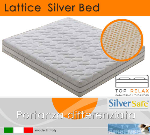 Materasso in Lattice 100% Mod. Silver Bed Fodera Argento Singolo da Cm 80x190/195/200 Zone Differenziate