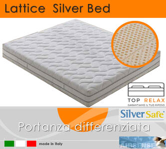 Materasso in Lattice 100% Mod. Silver Bed Fodera Argento da Cm 105x190/195/200 Zone Differenziate