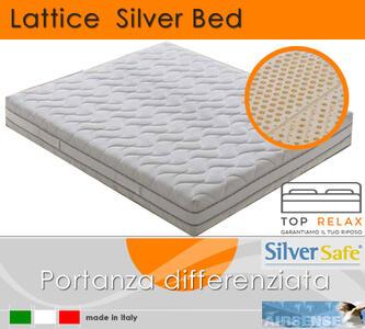 Materasso in Lattice 100% Mod. Silver Bed Fodera Argento Matrimoniale da Cm 160x190/195/200 Zone Differenziate