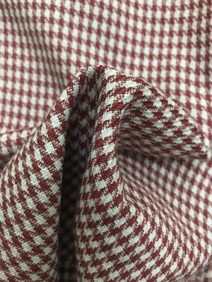 Scampolo tessuto fisso pied de poule rosso e bianco