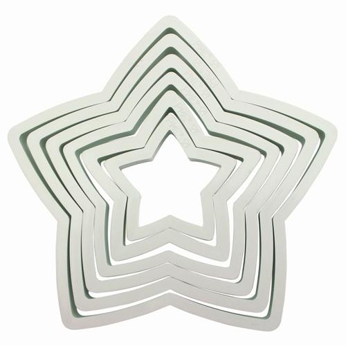 Set 6 stampi stelle plastica PME