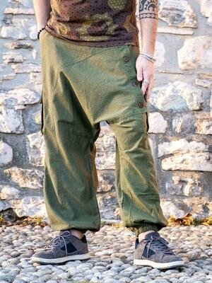 Men's long trousers Praney low crotch - green