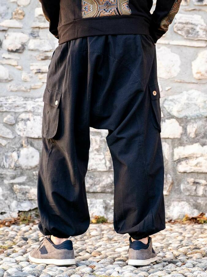 Men's long trousers Praney low crotch - black
