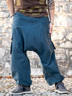 Men's long trousers Praney low crotch - petrol blue