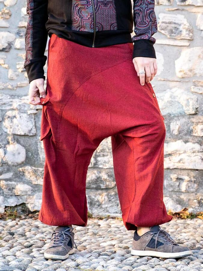 Pantalón hombre largo de entrepierna baja Praney - rojo