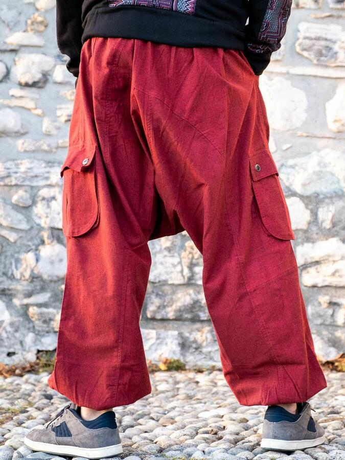 Men's long trousers Praney low crotch - red