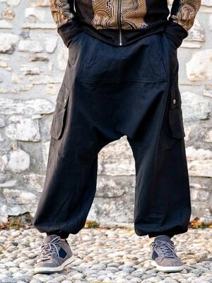 Men's long pants Madhu low crotch - black