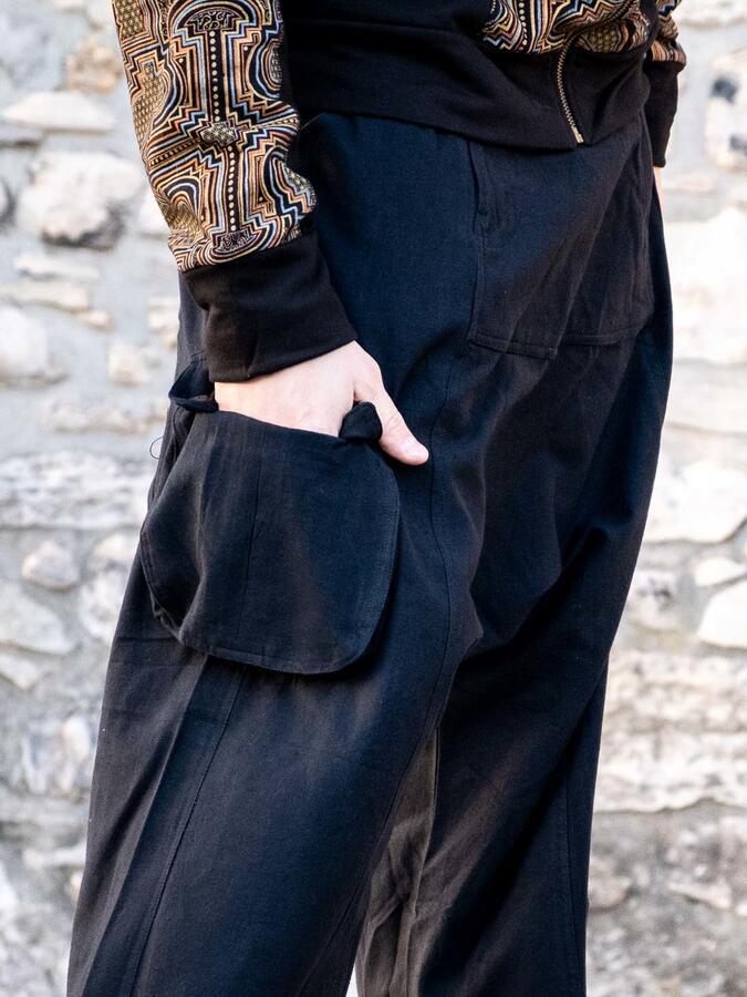 Men's long pants Madhu low crotch - black