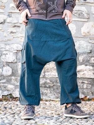 Pantalone uomo lungo Madhu cavallo basso - blu petrolio