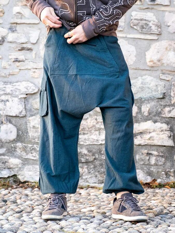 Men's long pants Madhu low crotch - petrol blue