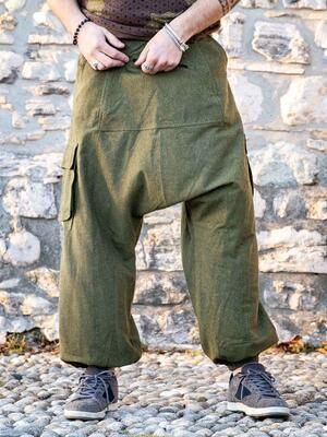 Men's long pants Madhu low crotch - green