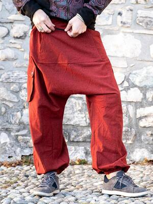 Men's long pants Madhu low crotch - red