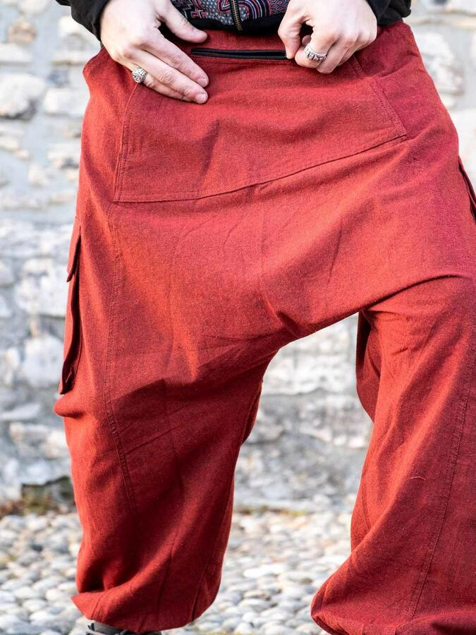 Pantalone uomo lungo Madhu cavallo basso - rosso