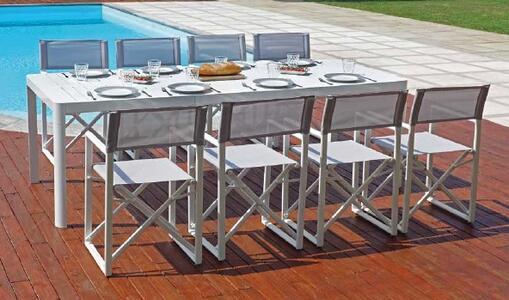 Tavolo da giardino allungabile in alluminio BIANCO PORTOFERRAIO da 160 a 240 x 100 gambe scorrevoli RTA 56 BI