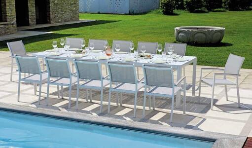 Tavolo da giardino allungabile in alluminio BIANCO CAPOLIVERI da 200 a 300 x 100 gambe scorrevoli RTA 57 BI