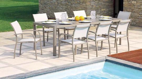 Tavolo da giardino allungabile in alluminio TORTORA CAPOLIVERI da 200 a 300 x 100 gambe scorrevoli RTA 57 TORTORA