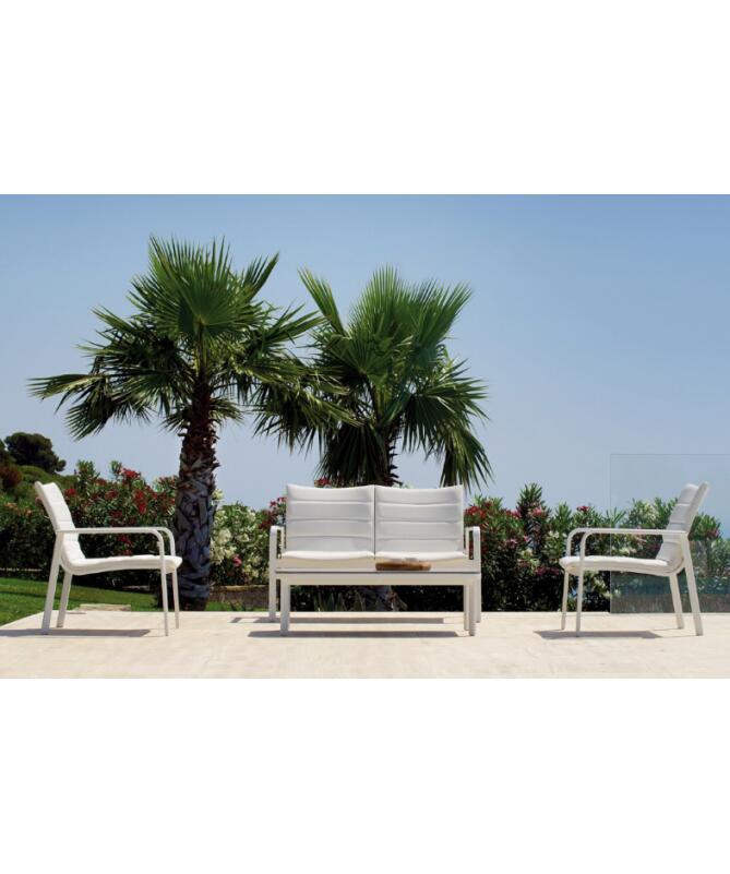 Salotto da giardino LUSSO SET LOS ANGELES in alluminio bianco MST 01
