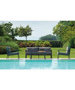 Salottino da giardino LUSSO SET MALIBU in alluminio e teak divano 3 posti MST 04 colore GRIGIO