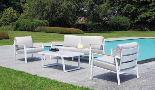 Salottino da giardino LUSSO SET MALIBU in alluminio e teak divano 3 posti MST 04 colore BIANCO