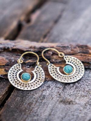 Orecchini oro mini, rotondi con greche etniche e pietra Turchese