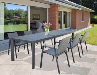 Tavolo da giardino in alluminio allungabile BELLUNO misura 180 / 240 x 100 h 75 colore ANTRACITE