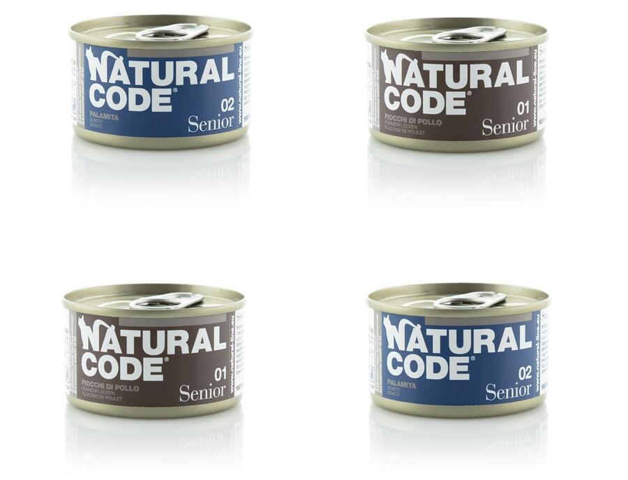 24 Lattine Da 85g Natural Code Senior Cibo Umido Per Gatti Anziani Pollo Palamita