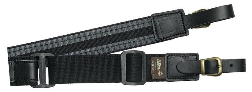 Bretella per fucile registrabile in tessuto nero e cuoio ingrassato mm.40 con antiscivolo
