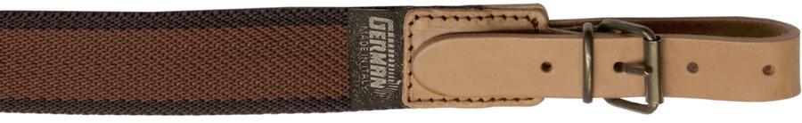 Bretella per fucile in tessuto colore marrone chiaro con righe laterali marrone scuro mm.30