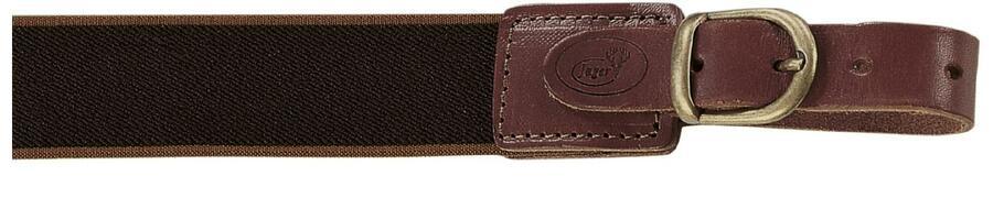 Bretella per fucile in tessuto elastico colore marrone scuro con righe laterali marrone chiaro mm.35