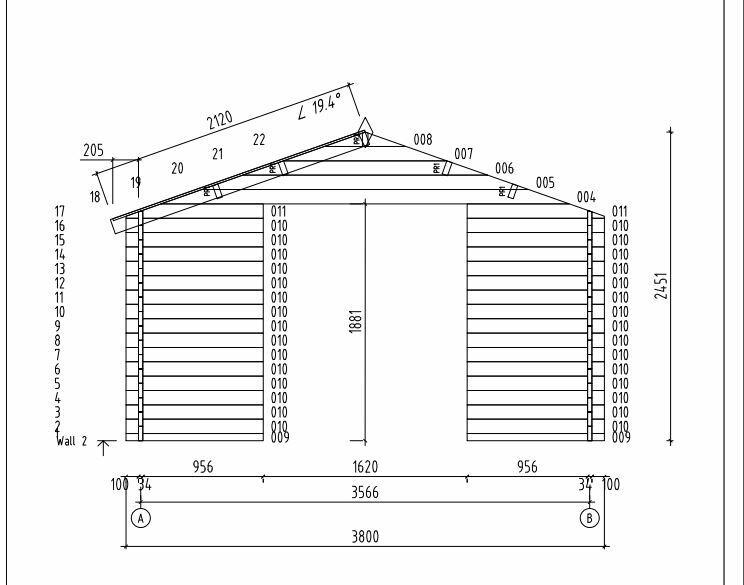 Casetta in legno di abete nordico 3,80 m x 2,80 m - Mod. Katia - 34 mm