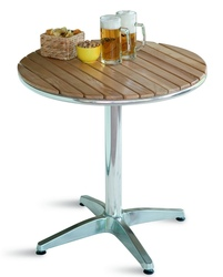 Tavolo Bar professionale rotondo diametro 70 in alluminio e acciaio con piano in quercia