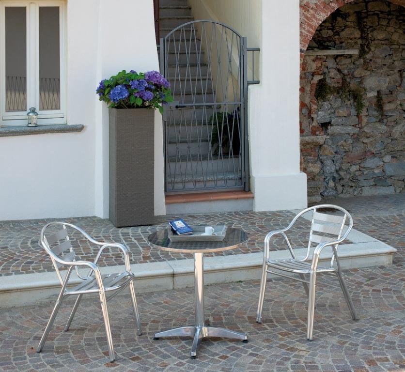 Sedia bar professionale in alluminio impilabile doppio telaio