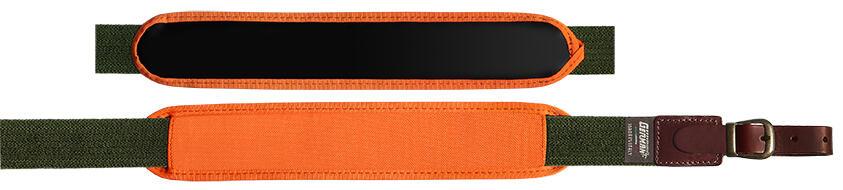 Bretella per fucile in tessuto elastico rigato colore verde militare mm.30 con spallaccio