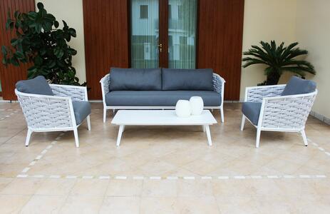Salotto da giardino in alluminio bianco e corda grigia CARONTE con divano 2 posti e 2 poltrone con tavolino