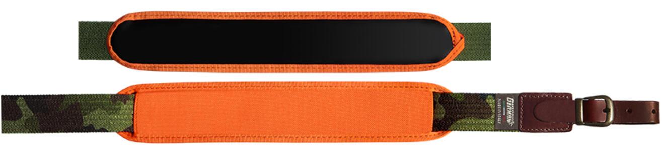 Bretella per fucile in tessuto elastico rigato colore mimetico mm.30 con spallaccio