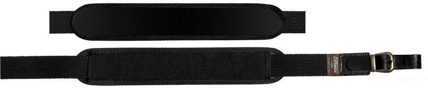 Bretella per fucile in tessuto elastico rigato colore nero mm.30 con spallaccio
