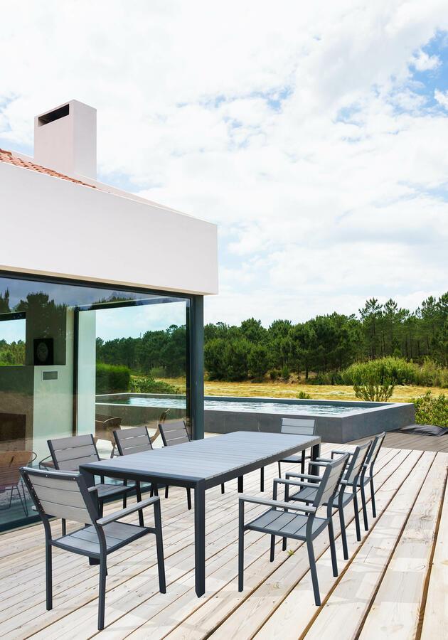 Tavolo da giardino allungabile WAIKIKIS in alluminio ANTRACITE cm 162/242  x 100 x 74 h piano polywood