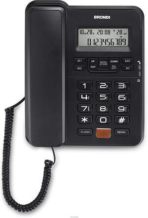 BRONDI Telefono con Filo Office Desk Nero Display Lcd 12 Cifre Vivavoce 3 Memorie Dirette