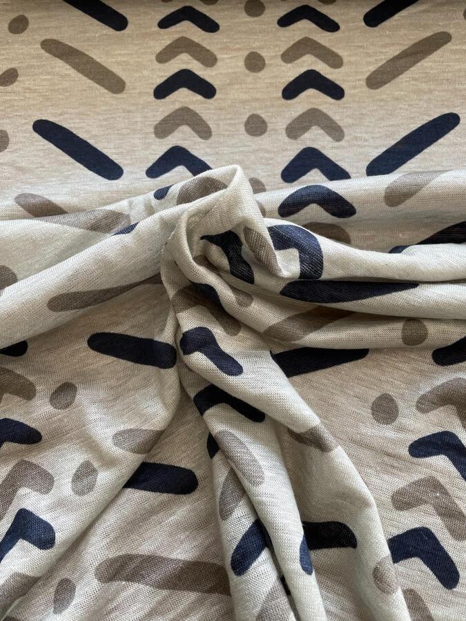 Maglina Jersey di LINO fantasia geometrica base panna