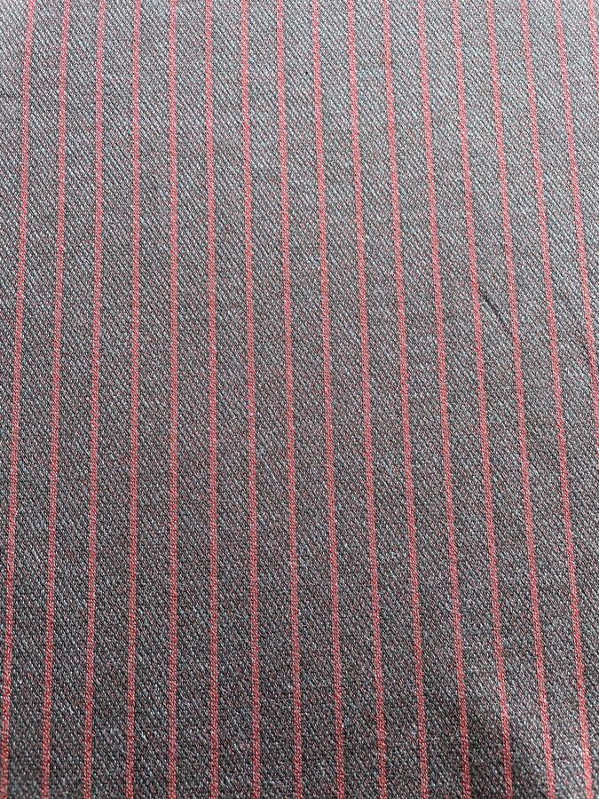 Tessuto felpa non garzato di cotone a righe blu e rosso
