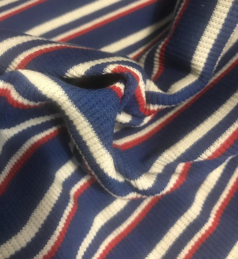 Maglina Jersey a coste righe bluette, bianche e rosse