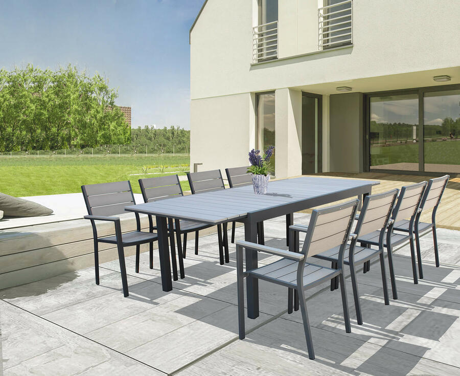 Tavolo da giardino in alluminio PEDAVENA ANTRACITE 180 / 240 x 100 h 73 piano polywood ruvido grigio colore grigio